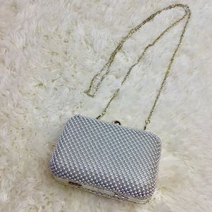 Handbags - Silver Metallic Beaded Crossbody/clutch